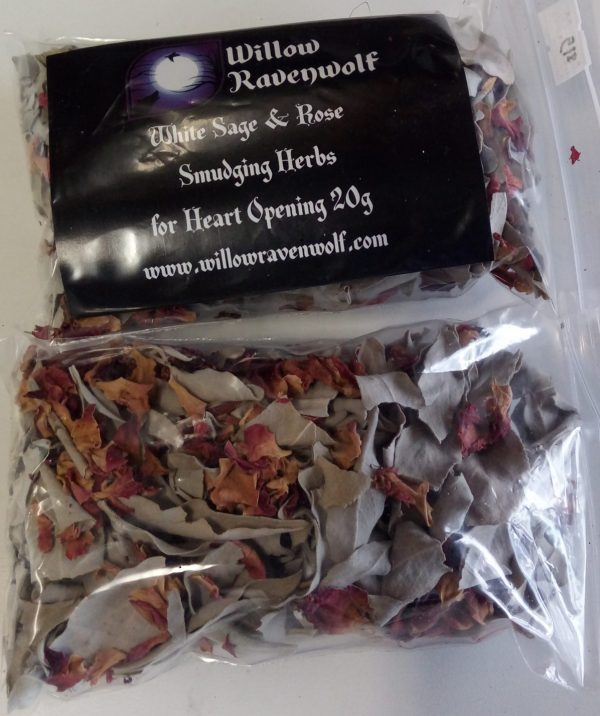 A bag of dried loose leaf White Sage and Rose petals