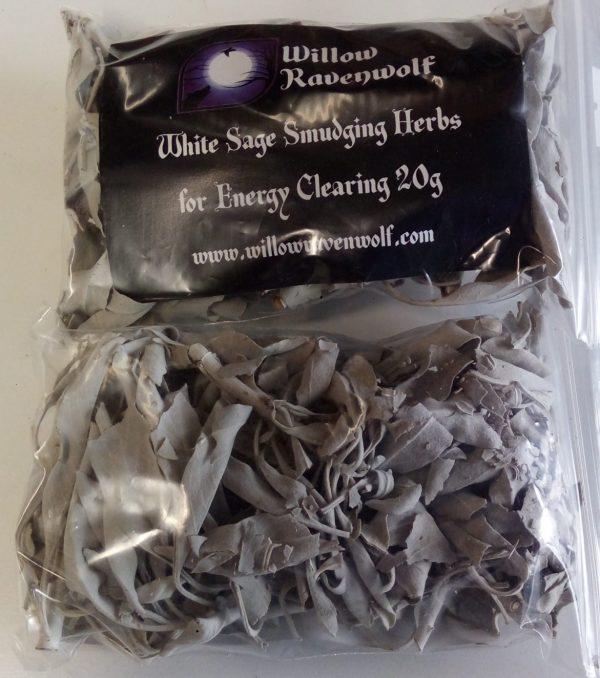 A bag of dried loose leaf White Sage