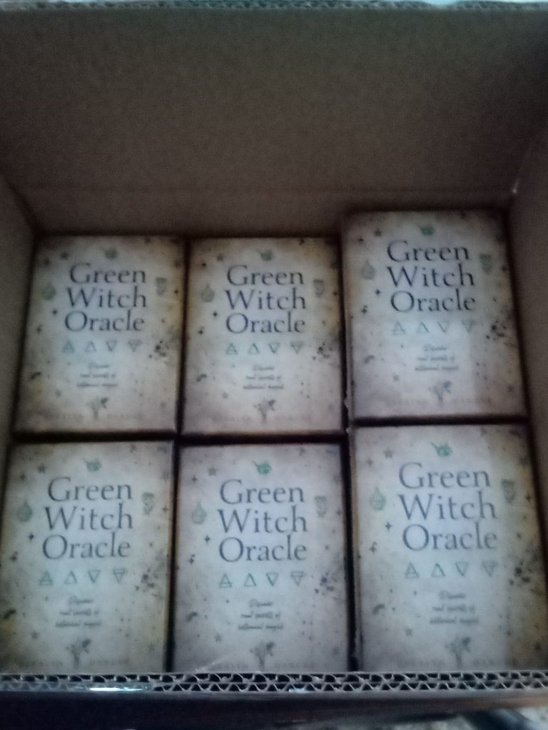A box of the Green Witch Oracle decks.